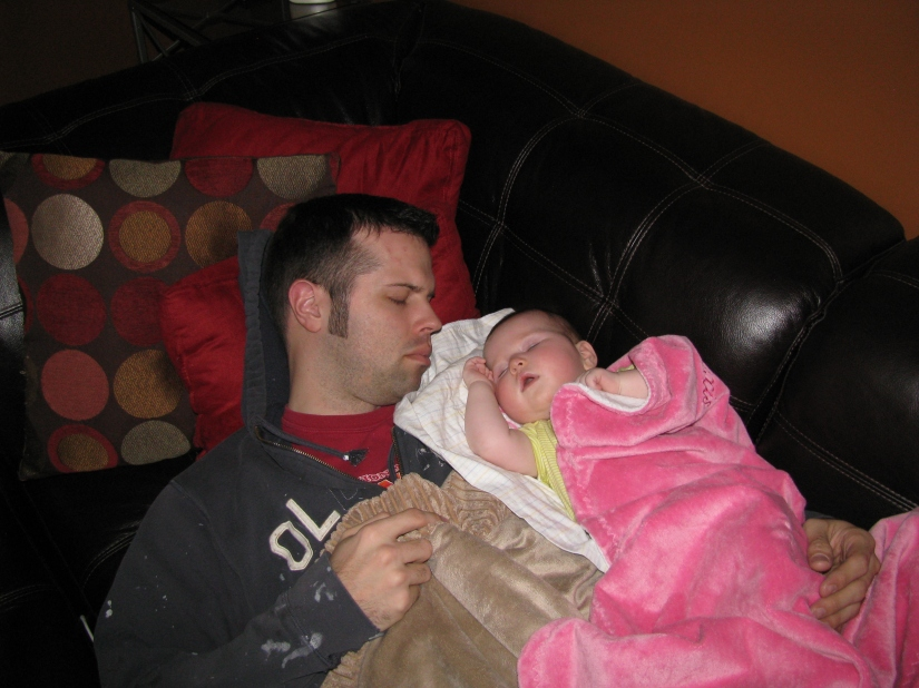 Snuggling and napping with Daddy during your cold