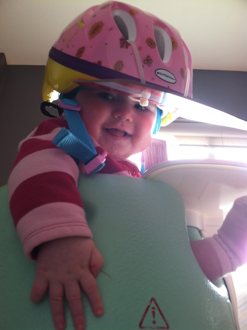 Trying on your new bike helmet for the bike carrier